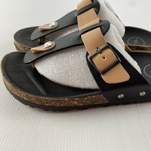 Black & Tan Diamante Detail Sandal Shoe Size 7